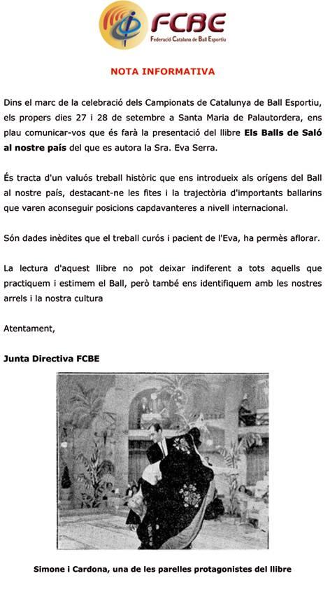 Presentació llibre sobre el ball a Catalunya  | Federació Catalana de Ball Esportiu