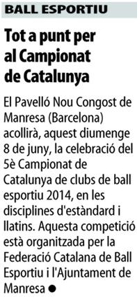 V Campionat de Catalunya de Clubs. Nota de premsa  | Federació Catalana de Ball Esportiu