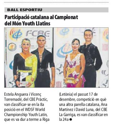 El WDSF World Youth Latin a la premsa   | Federació Catalana de Ball Esportiu