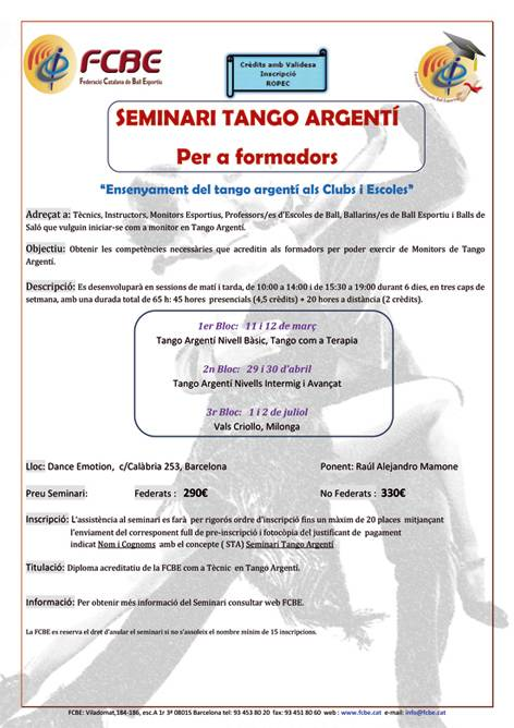Seminari Tango Argenti (3a fase)  | Federació Catalana de Ball Esportiu