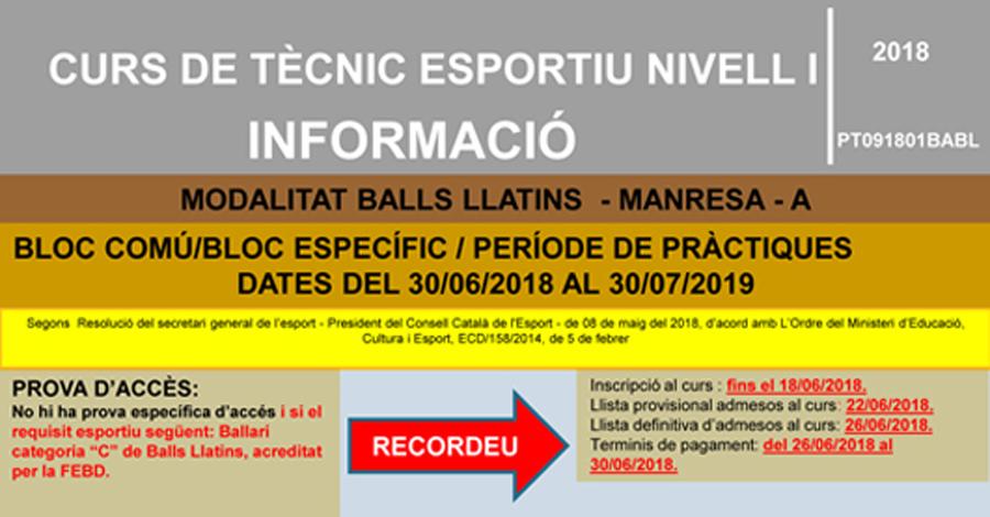 Curs de Tècnic Nivell 1 en Ball Esportiu Llatins (Ajornat)