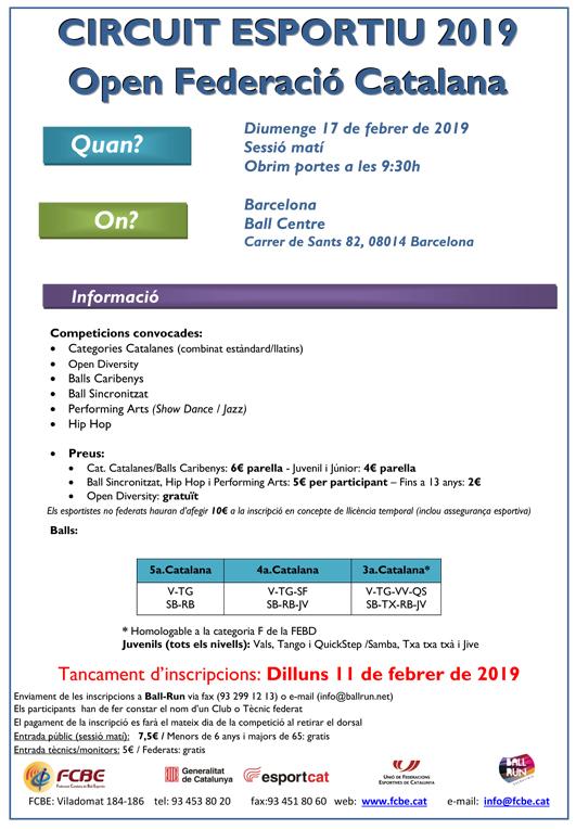 2a Prova Circuit Ball Esportiu Català 2019. Barcelona. Informació  | Federació Catalana de Ball Esportiu