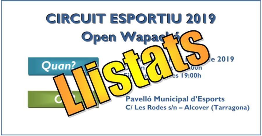 3a Prova Circuit Català - Alcover. Open Wapachà. Llistats definitius