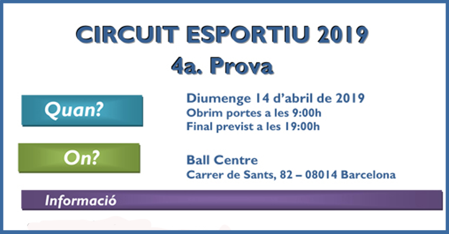4a Prova Circuit Ball Esportiu Català 2019. Barcelona. Informació