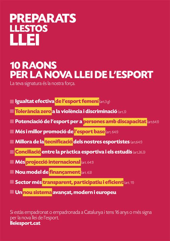 Nova Llei de l'Esport (Iniciativa Legislativa Popular - ILP)    Federació Catalana de Ball Esportiu