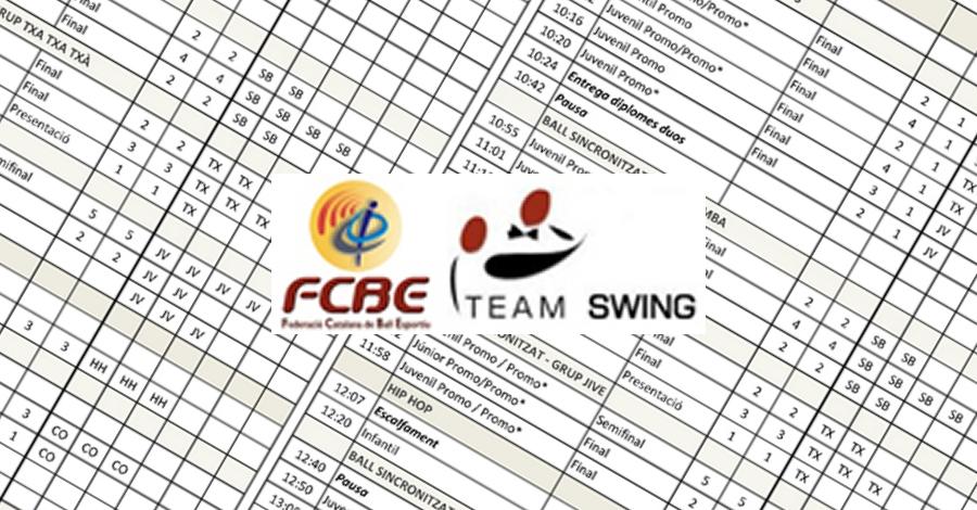 3a Prova Circuit Ball Esportiu Català. Team Swing. Horaris i grups